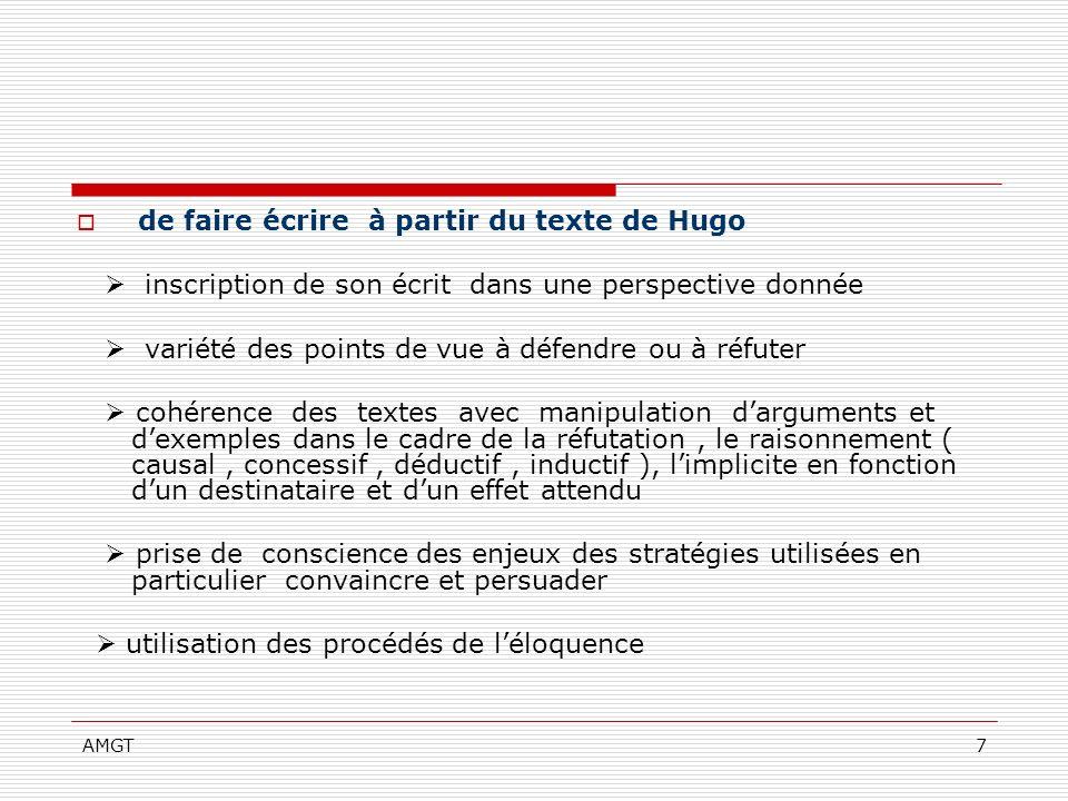 AMGT7 de faire écrire à partir du texte de Hugo inscription de son écrit dans une perspective donnée variété des points de vue à défendre ou à réfuter