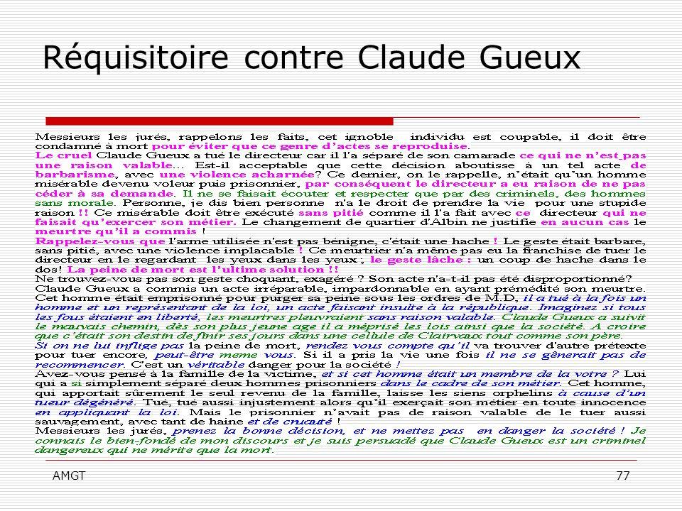 AMGT77 Réquisitoire contre Claude Gueux