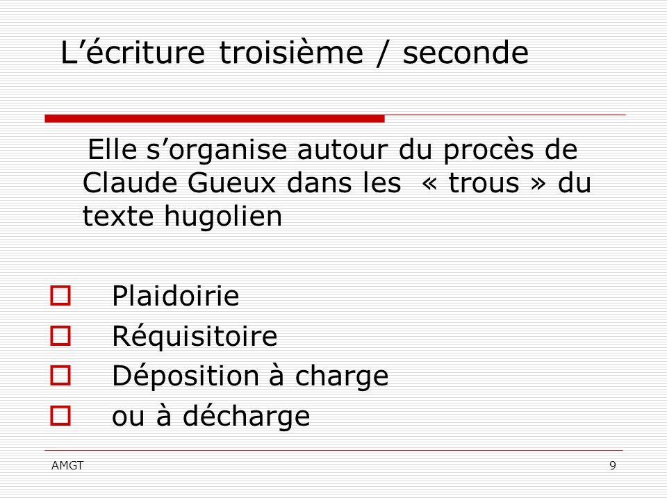 AMGT9 Lécriture troisième / seconde Elle sorganise autour du procès de Claude Gueux dans les « trous » du texte hugolien Plaidoirie Réquisitoire Dépos