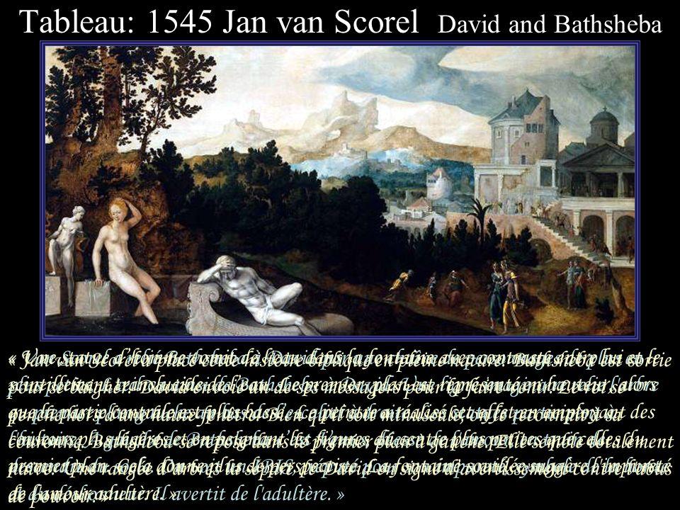Tableau: 1536 Lucas Cranach the Elder David and Bathsheba « David joue de la harpe au balcon du château et regarde la scène en bas où, en habits typiq