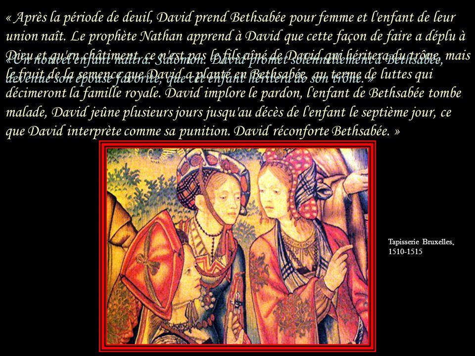 « Dans lépisode de Batsheba outre le récit biblique, qu il enrichit à laide de citations des Psaumes ou des annales et qu il amplifie de façon romanesque, lauteur fait place à l interprétation juive, par exemple en mentionnant les opinions qui disculpent David en partant au front, Urie aurait concédé un divorce de principe à son épouse; en refusant d obéir au roi, il aurait mérité la mort mais surtout en faisant dire à David que dès labord il eut l intuition que Batsheba lui était prédestinée, conformément à laffirmation talmudique.