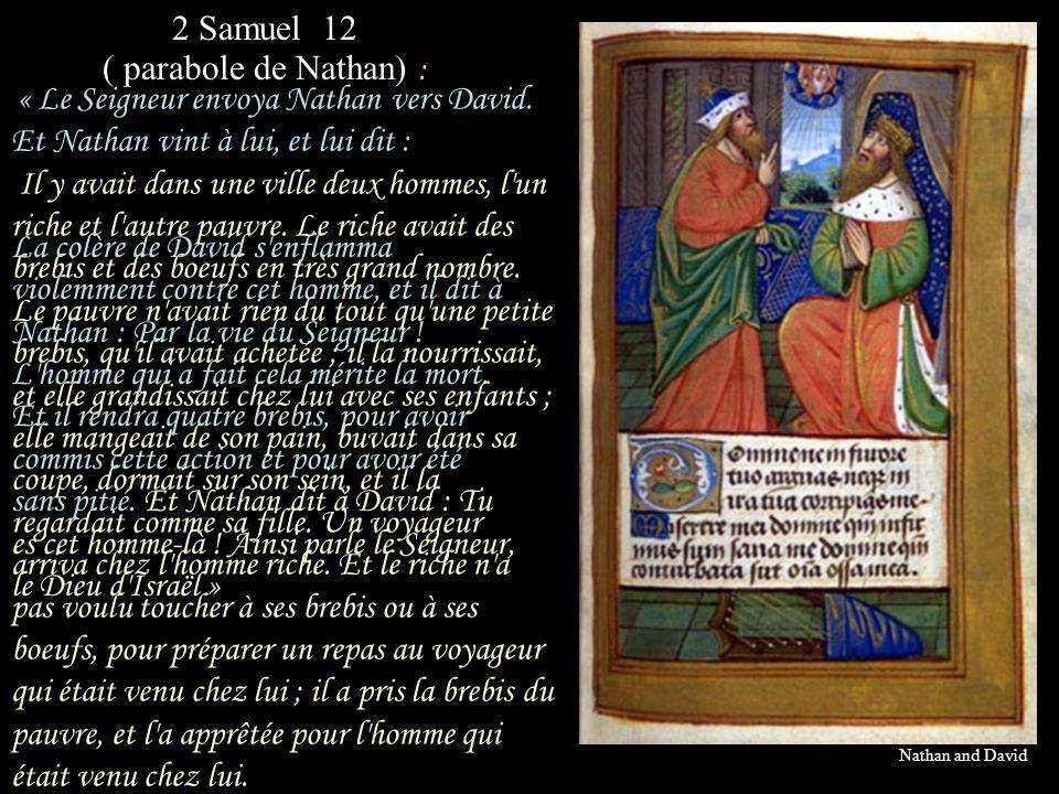 « Ce bonheur, pour avoir séduit Bethsabé, « la brebis que le pauvre avait pour tout bien », dit la parabole de Nathan, David ne pourra jamais le connaître ni en jouir.