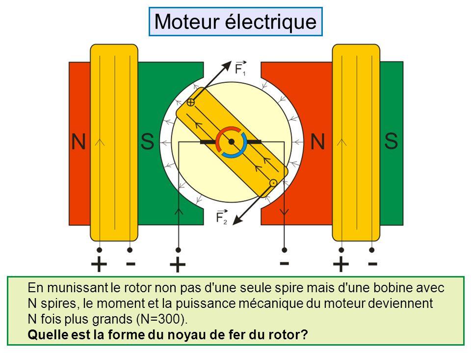 En munissant le rotor non pas d'une seule spire mais d'une bobine avec N spires, le moment et la puissance mécanique du moteur deviennent N fois plus