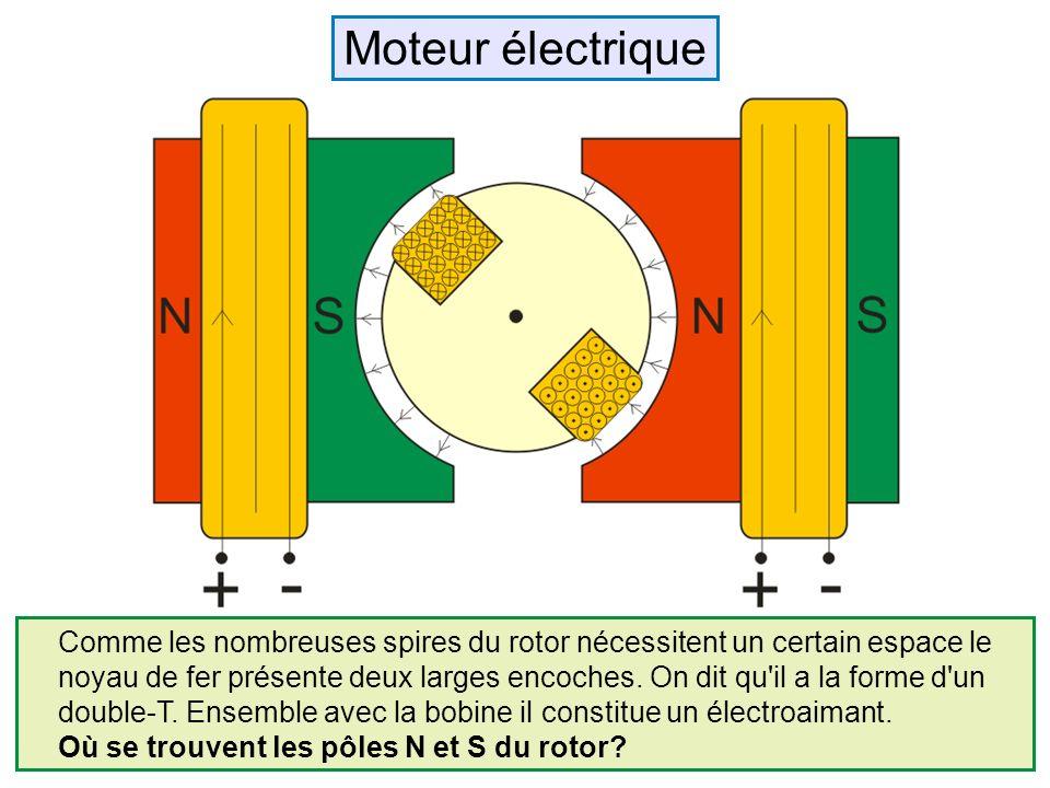Comme les nombreuses spires du rotor nécessitent un certain espace le noyau de fer présente deux larges encoches. On dit qu'il a la forme d'un double-