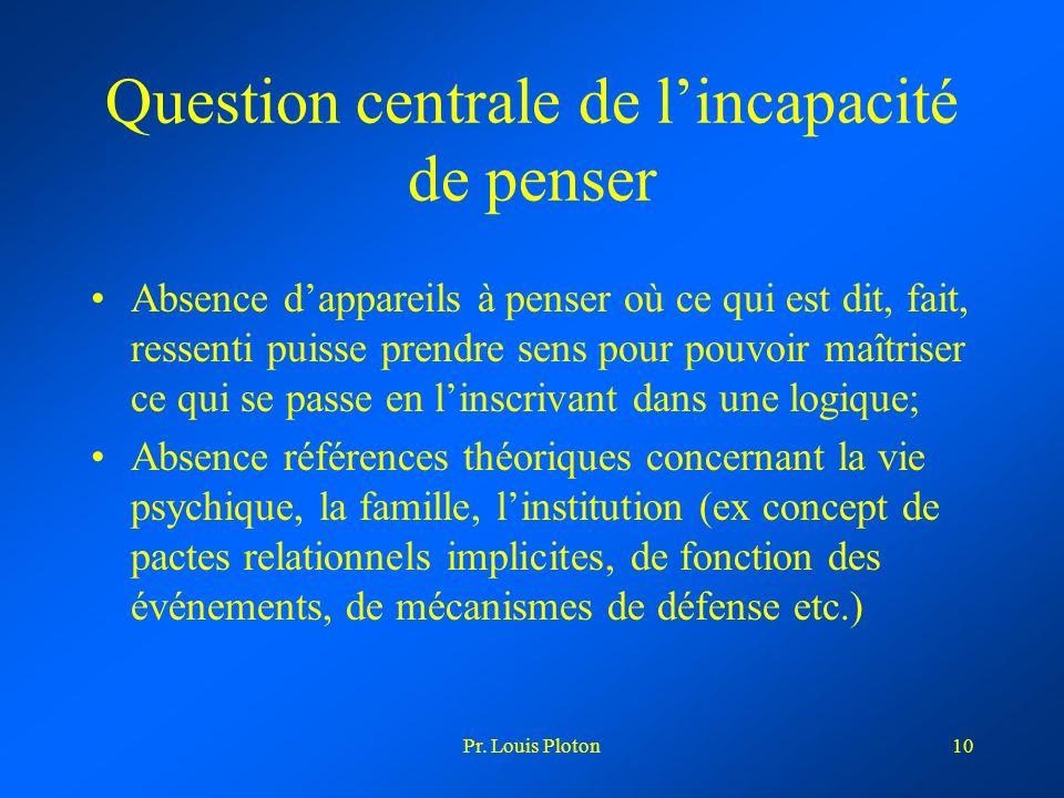 Pr. Louis Ploton10 Question centrale de lincapacité de penser Absence dappareils à penser où ce qui est dit, fait, ressenti puisse prendre sens pour p
