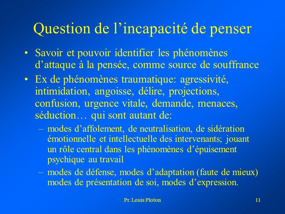 Pr. Louis Ploton11 Question de lincapacité de penser Savoir et pouvoir identifier les phénomènes dattaque à la pensée, comme source de souffrance Ex d