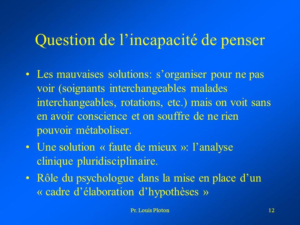 Pr. Louis Ploton12 Question de lincapacité de penser Les mauvaises solutions: sorganiser pour ne pas voir (soignants interchangeables malades intercha
