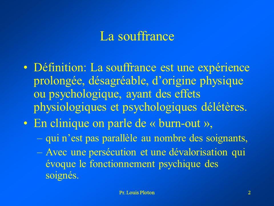 Pr. Louis Ploton2 La souffrance Définition: La souffrance est une expérience prolongée, désagréable, dorigine physique ou psychologique, ayant des eff