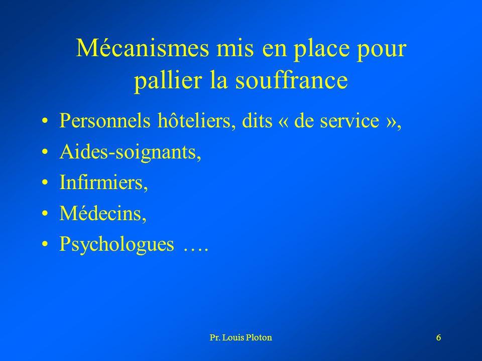 Pr. Louis Ploton6 Mécanismes mis en place pour pallier la souffrance Personnels hôteliers, dits « de service », Aides-soignants, Infirmiers, Médecins,
