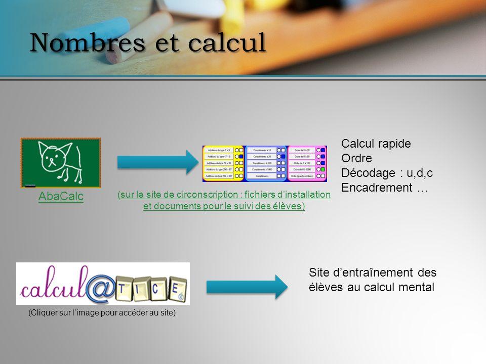 Nombres et calcul AbaCalc Calcul rapide Ordre Décodage : u,d,c Encadrement … Site dentraînement des élèves au calcul mental (Cliquer sur limage pour a