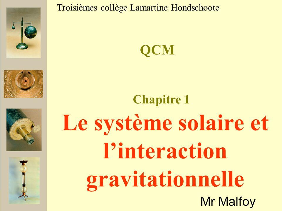 QCM Mr Malfoy Troisièmes collège Lamartine Hondschoote Le système solaire et linteraction gravitationnelle Chapitre 1