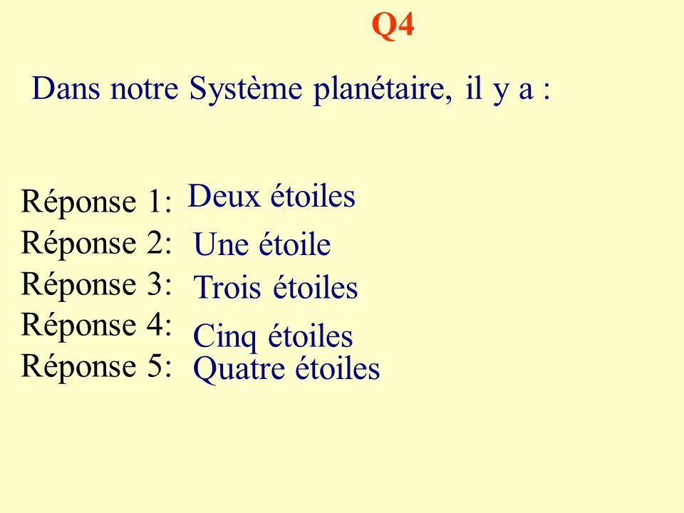 Q4 Dans notre Système planétaire, il y a : Réponse 1: Réponse 2: Réponse 3: Réponse 4: Réponse 5: Deux étoiles Une étoile Trois étoiles Cinq étoiles Quatre étoiles