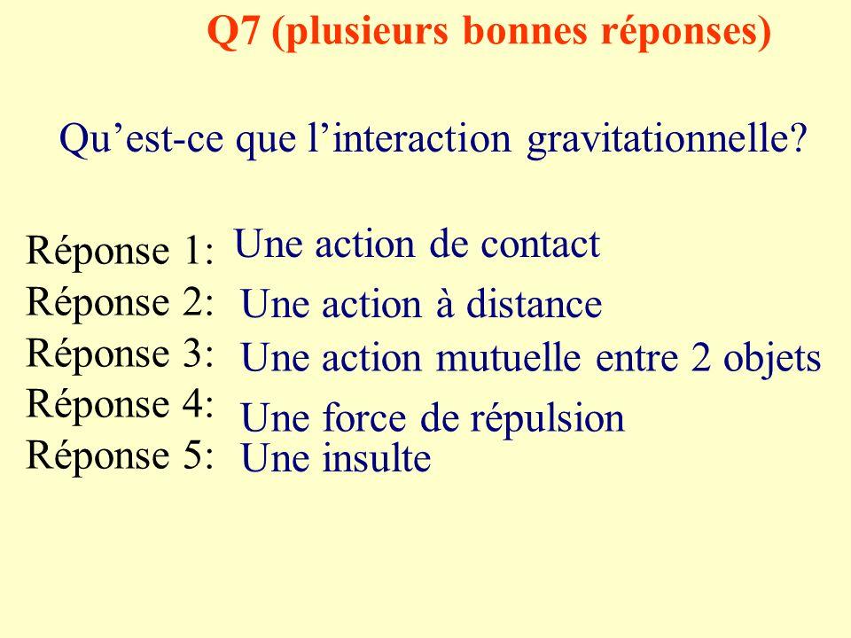 Q7 (plusieurs bonnes réponses) Quest-ce que linteraction gravitationnelle.