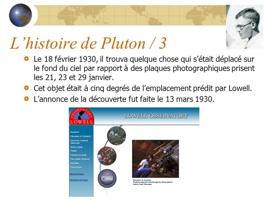 Le 18 février 1930, il trouva quelque chose qui sétait déplacé sur le fond du ciel par rapport à des plaques photographiques prisent les 21, 23 et 29 janvier.