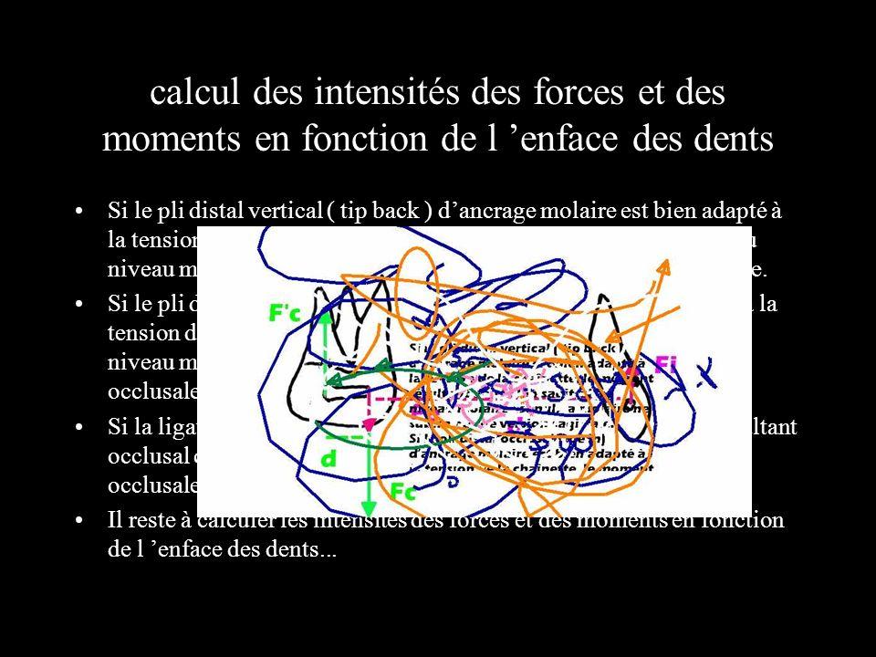 calcul des intensités des forces et des moments en fonction de l enface des dents Si le pli distal vertical ( tip back ) dancrage molaire est bien ada