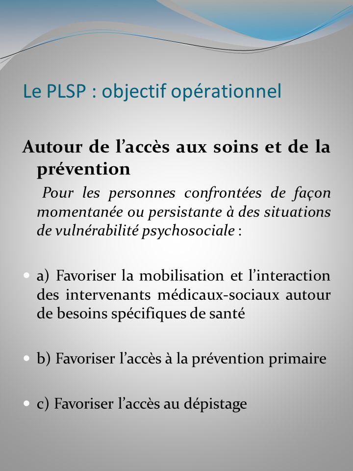 Le PLSP : objectif opérationnel Autour de laccès aux soins et de la prévention Pour les personnes confrontées de façon momentanée ou persistante à des