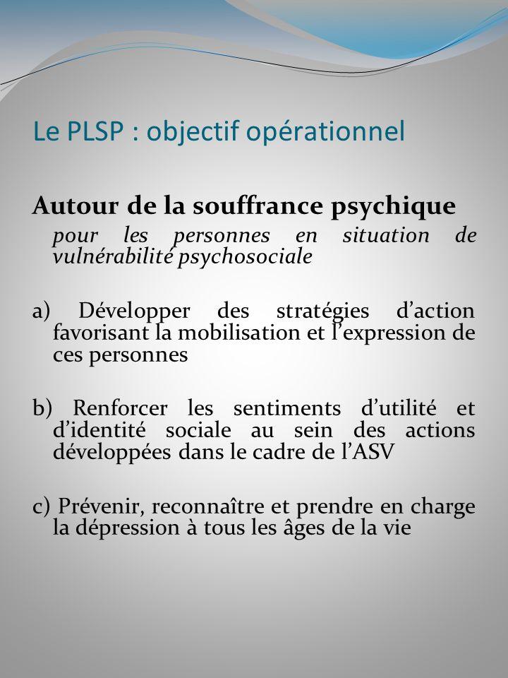 Le PLSP : objectif opérationnel Autour de la souffrance psychique pour les personnes en situation de vulnérabilité psychosociale a) Développer des str