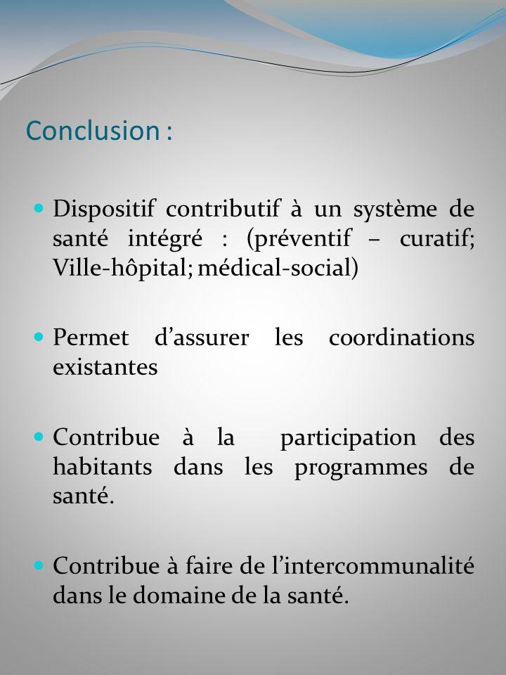 Conclusion : Dispositif contributif à un système de santé intégré : (préventif – curatif; Ville-hôpital; médical-social) Permet dassurer les coordinat