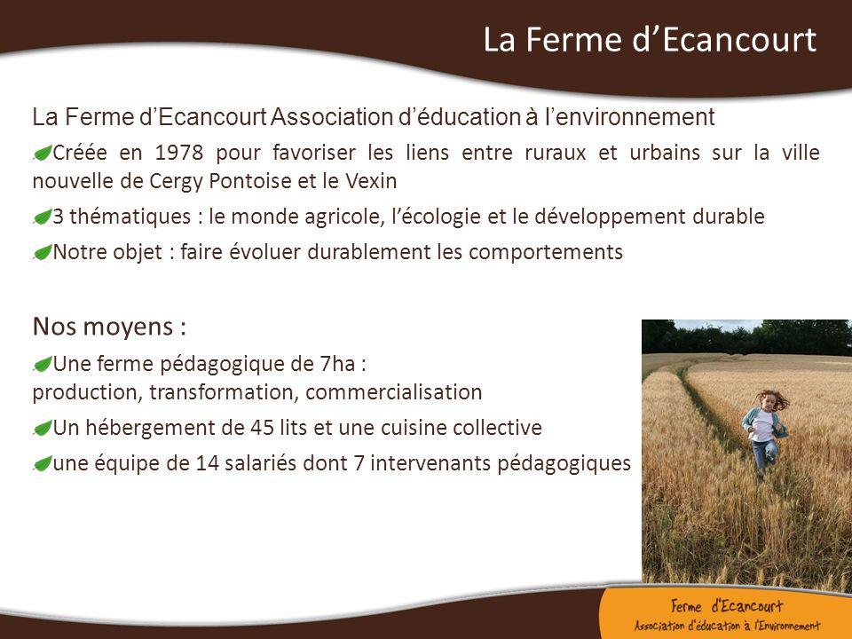 La Ferme dEcancourt La Ferme dEcancourt Association déducation à lenvironnement Créée en 1978 pour favoriser les liens entre ruraux et urbains sur la