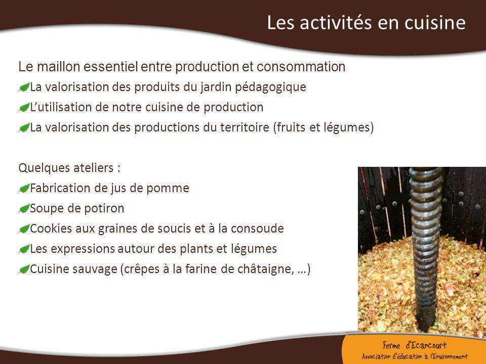 Les activités en cuisine Le maillon essentiel entre production et consommation La valorisation des produits du jardin pédagogique Lutilisation de notr