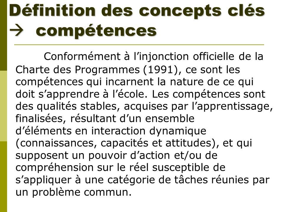 Définition des concepts clés compétences Conformément à linjonction officielle de la Charte des Programmes (1991), ce sont les compétences qui incarne