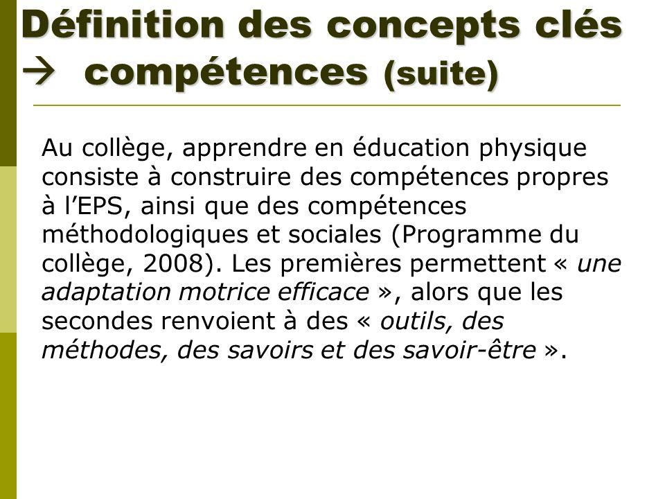 Définition des concepts clés compétences (suite) Au collège, apprendre en éducation physique consiste à construire des compétences propres à lEPS, ain