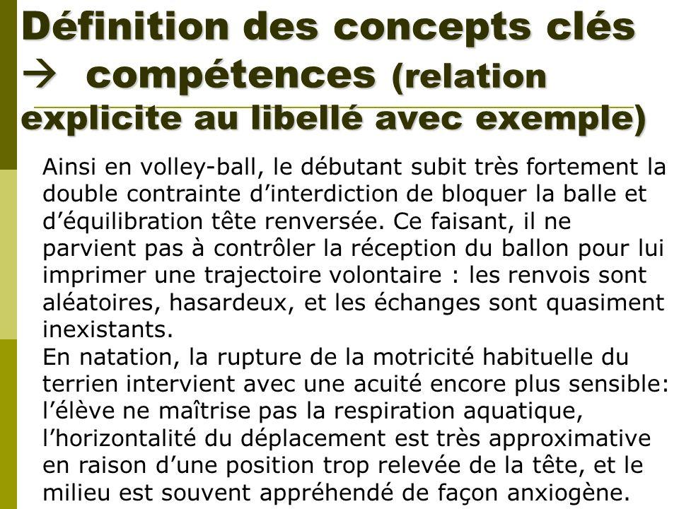 Définition des concepts clés compétences (relation explicite au libellé avec exemple) Ainsi en volley-ball, le débutant subit très fortement la double