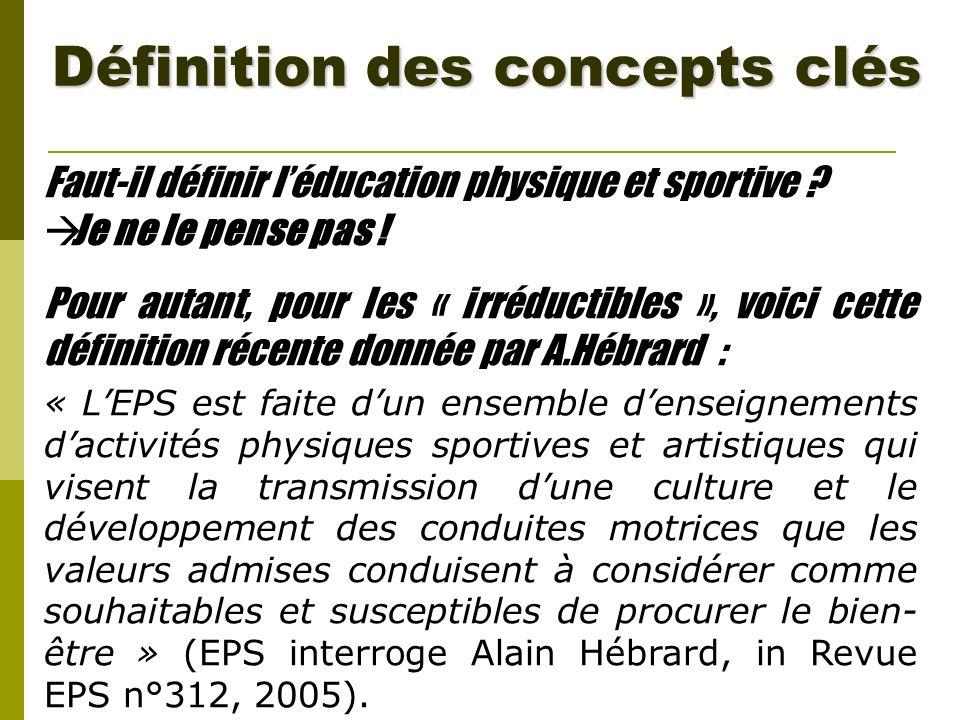Définition des concepts clés Faut-il définir léducation physique et sportive ? Je ne le pense pas ! Pour autant, pour les « irréductibles », voici cet