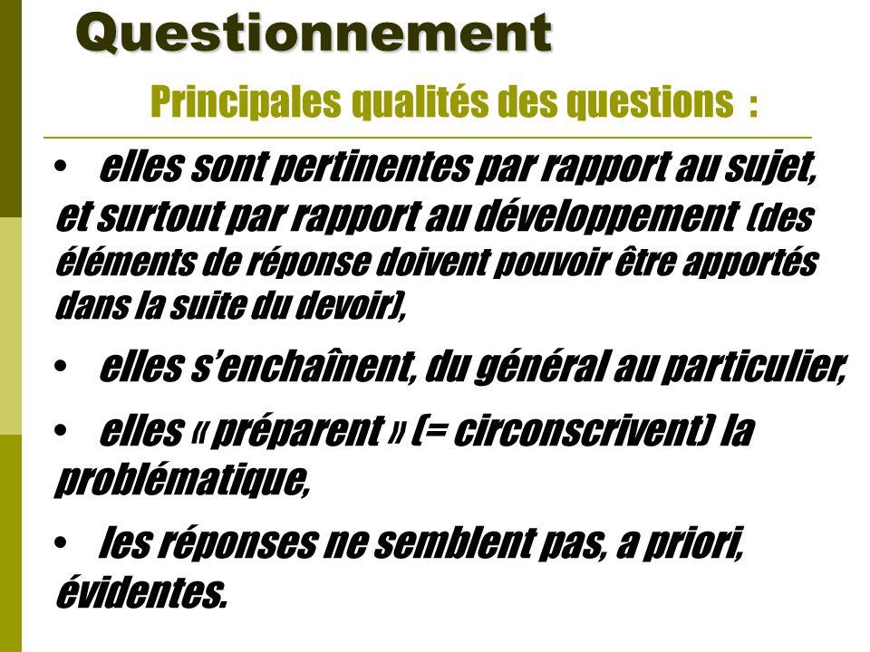 Principales qualités des questions : elles sont pertinentes par rapport au sujet, et surtout par rapport au développement (des éléments de réponse doi