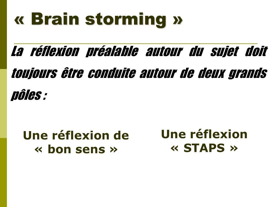 « Brain storming » La réflexion préalable autour du sujet doit toujours être conduite autour de deux grands pôles : Une réflexion de « bon sens » Une
