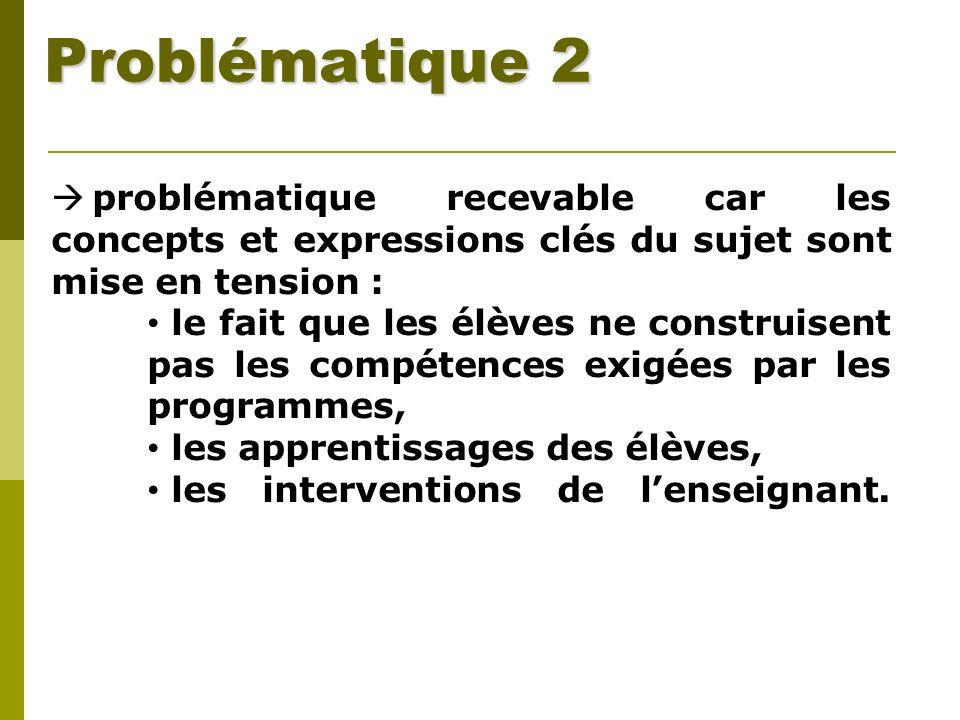 Problématique 2 problématique recevable car les concepts et expressions clés du sujet sont mise en tension : le fait que les élèves ne construisent pa