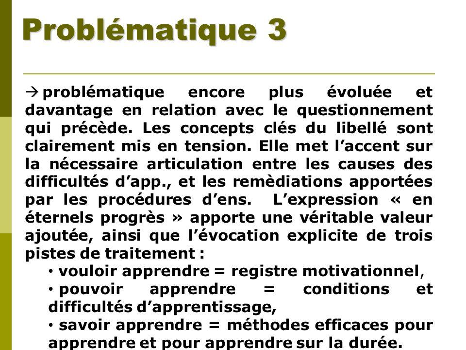 Problématique 3 problématique encore plus évoluée et davantage en relation avec le questionnement qui précède. Les concepts clés du libellé sont clair