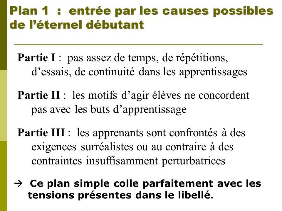 Plan 1 : entrée par les causes possibles de léternel débutant Partie I : pas assez de temps, de répétitions, dessais, de continuité dans les apprentis