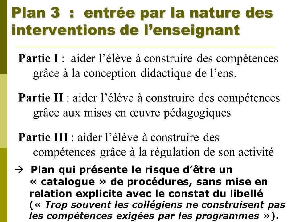 Plan 3 : entrée par la nature des interventions de lenseignant Partie I : aider lélève à construire des compétences grâce à la conception didactique d