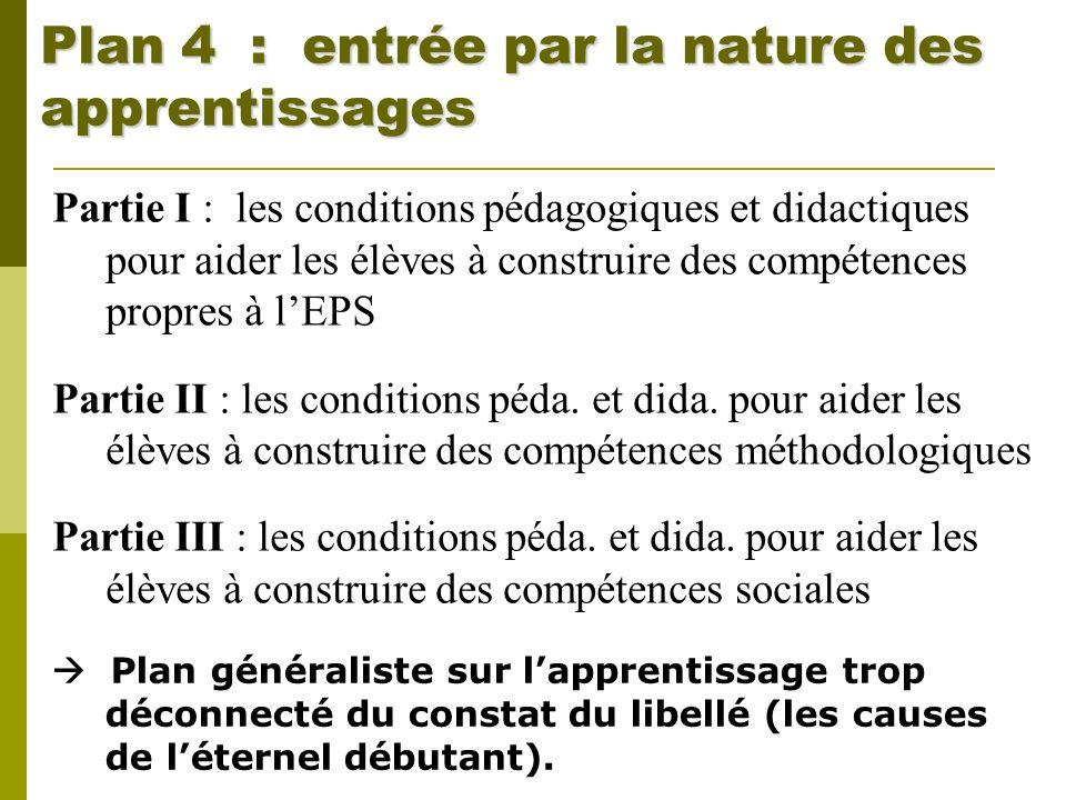 Plan 4 : entrée par la nature des apprentissages Partie I : les conditions pédagogiques et didactiques pour aider les élèves à construire des compéten