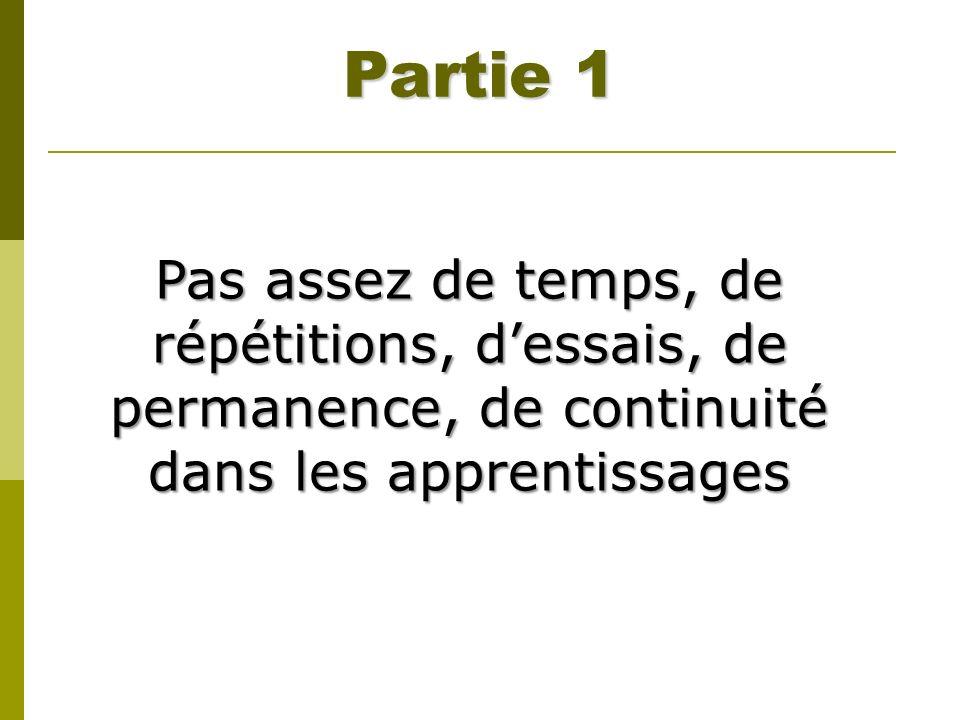 Partie 1 Pas assez de temps, de répétitions, dessais, de permanence, de continuité dans les apprentissages