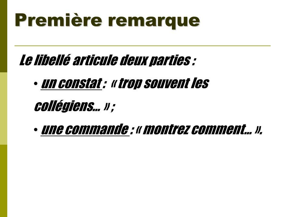 Première remarque Le libellé articule deux parties : un constat : « trop souvent les collégiens… » ; une commande : « montrez comment… ».