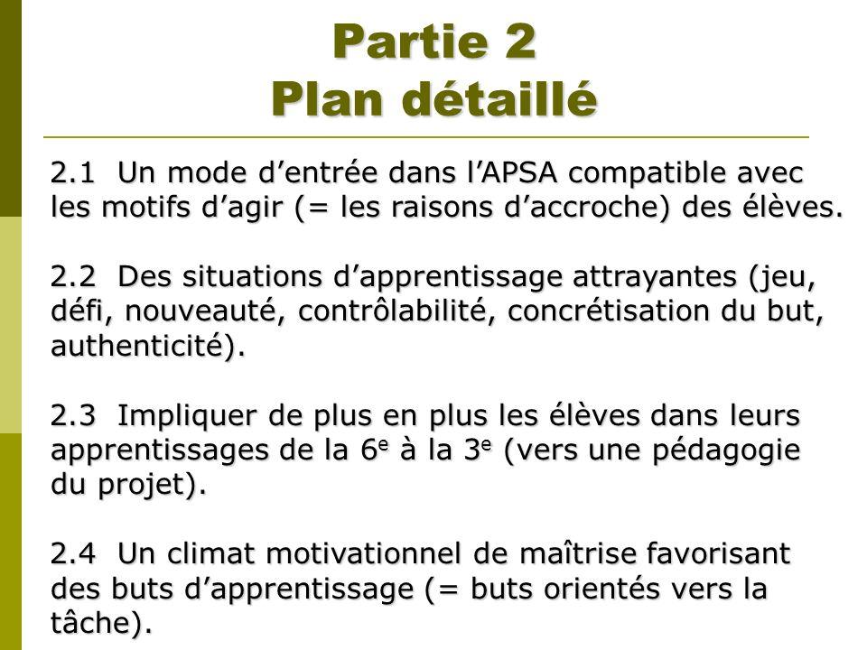 Partie 2 Plan détaillé 2.1 Un mode dentrée dans lAPSA compatible avec les motifs dagir (= les raisons daccroche) des élèves. 2.2 Des situations dappre