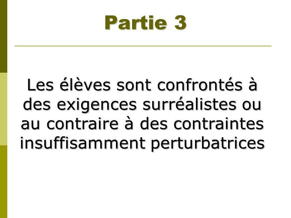 Partie 3 Les élèves sont confrontés à des exigences surréalistes ou au contraire à des contraintes insuffisamment perturbatrices