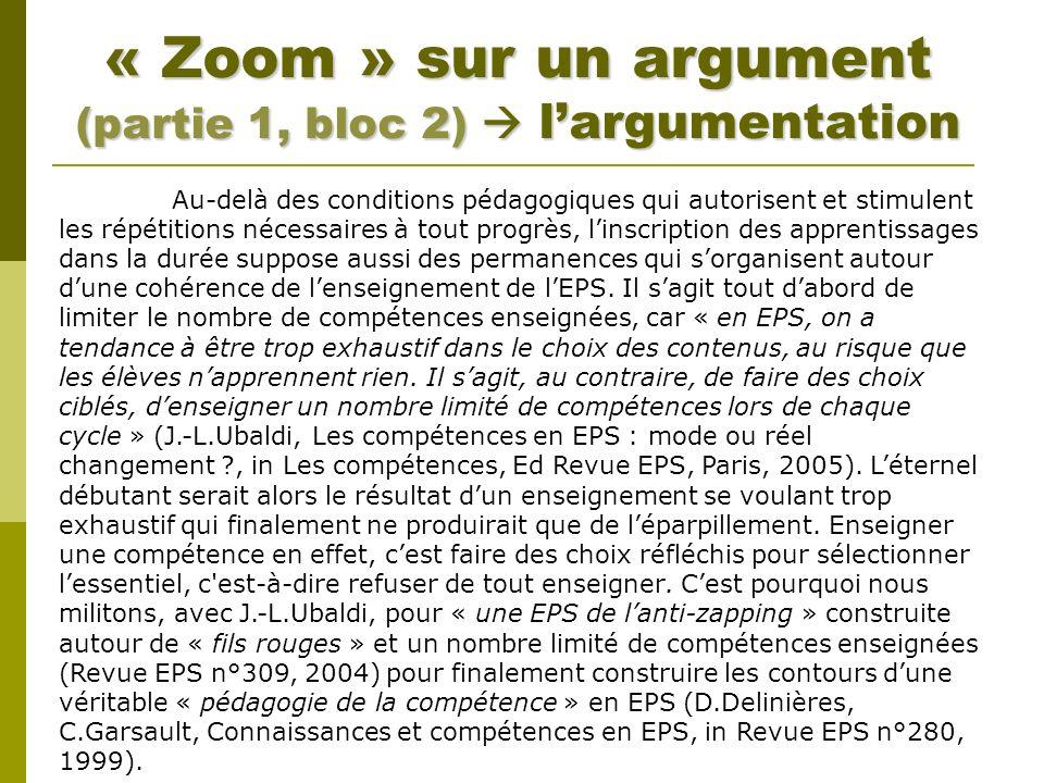 « Zoom » sur un argument (partie 1, bloc 2) largumentation Au-delà des conditions pédagogiques qui autorisent et stimulent les répétitions nécessaires