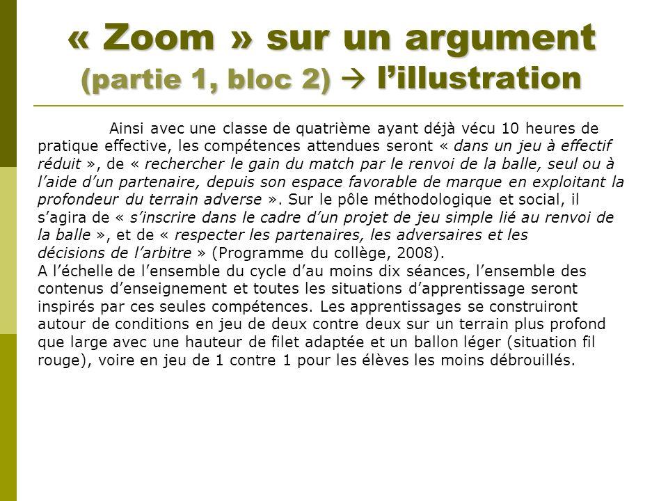 « Zoom » sur un argument (partie 1, bloc 2) lillustration Ainsi avec une classe de quatrième ayant déjà vécu 10 heures de pratique effective, les comp