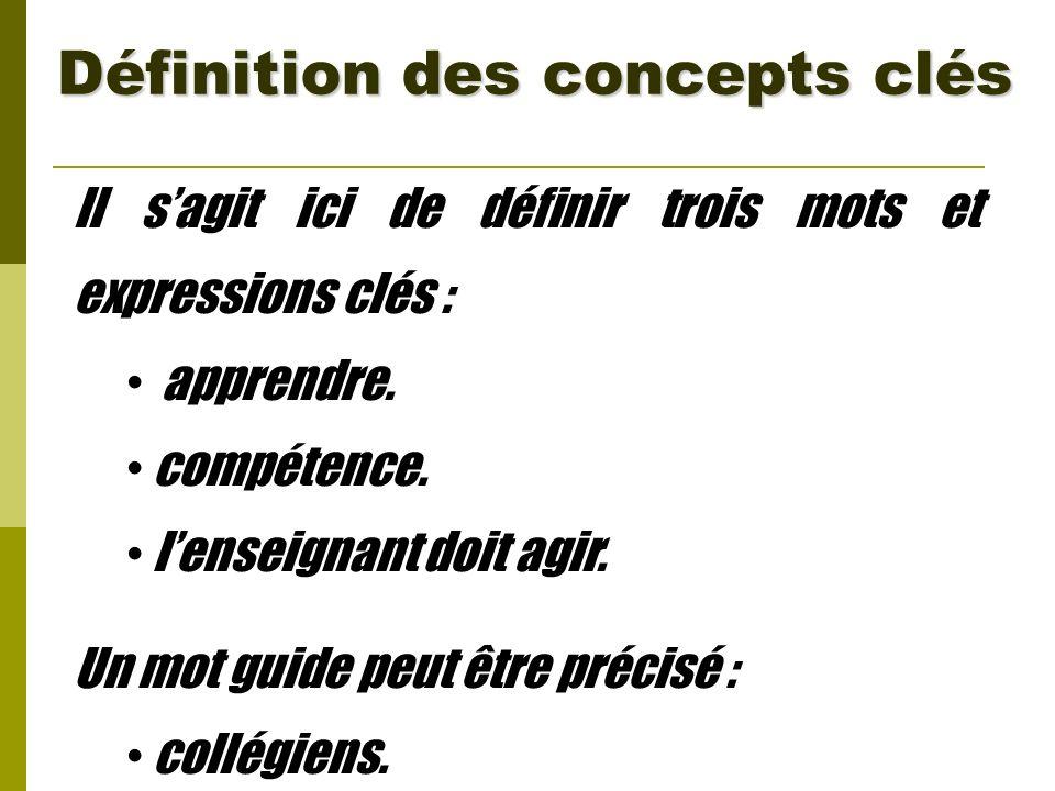Définition des concepts clés Il sagit ici de définir trois mots et expressions clés : apprendre. compétence. lenseignant doit agir. Un mot guide peut