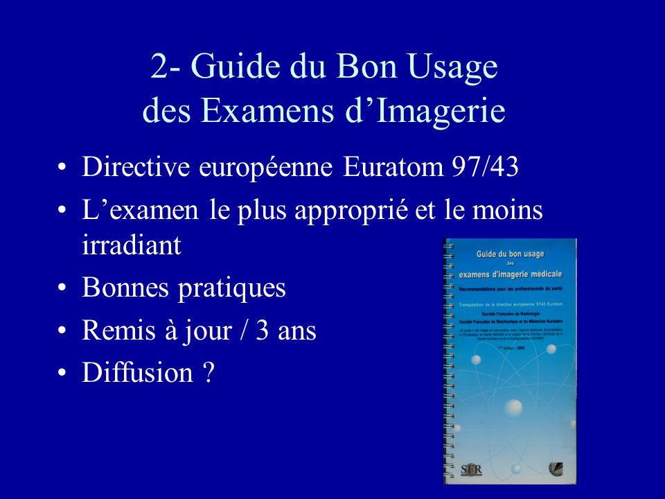 2- Guide du Bon Usage des Examens dImagerie Directive européenne Euratom 97/43 Lexamen le plus approprié et le moins irradiant Bonnes pratiques Remis