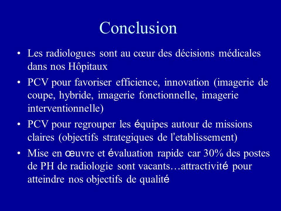 Conclusion Les radiologues sont au cœur des décisions médicales dans nos Hôpitaux PCV pour favoriser efficience, innovation (imagerie de coupe, hybrid