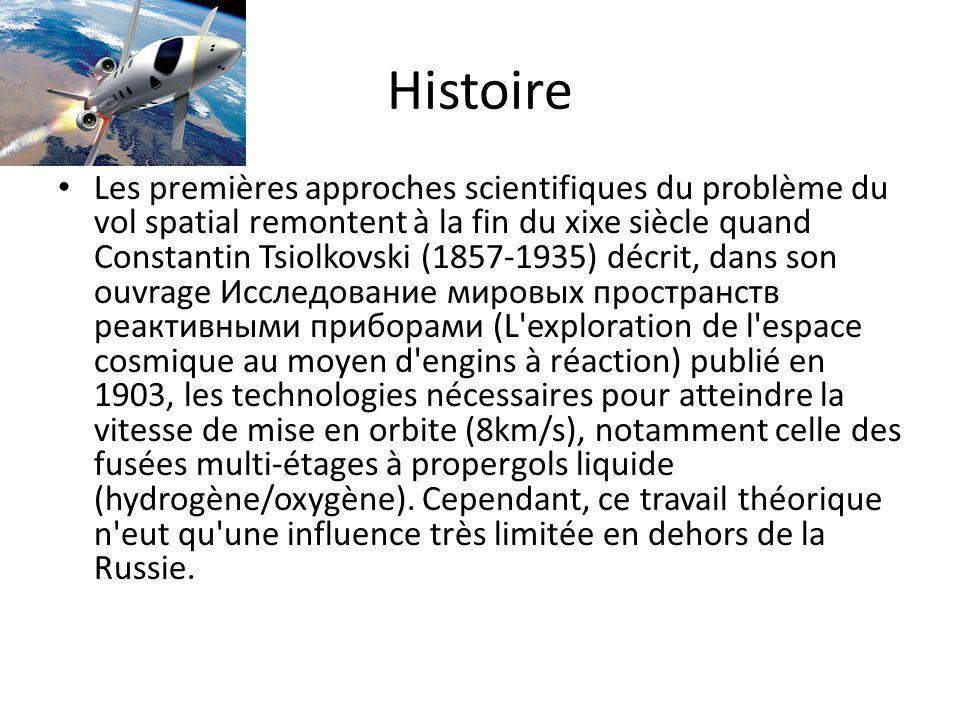 Histoire Les premières approches scientifiques du problème du vol spatial remontent à la fin du xixe siècle quand Constantin Tsiolkovski (1857-1935) d