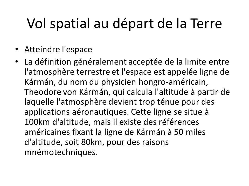 Vol spatial au départ de la Terre Atteindre l'espace La définition généralement acceptée de la limite entre l'atmosphère terrestre et l'espace est app