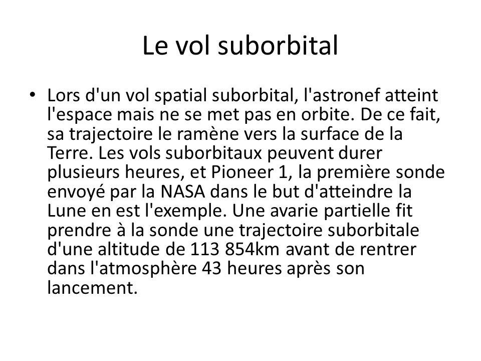 Le vol suborbital Lors d'un vol spatial suborbital, l'astronef atteint l'espace mais ne se met pas en orbite. De ce fait, sa trajectoire le ramène ver