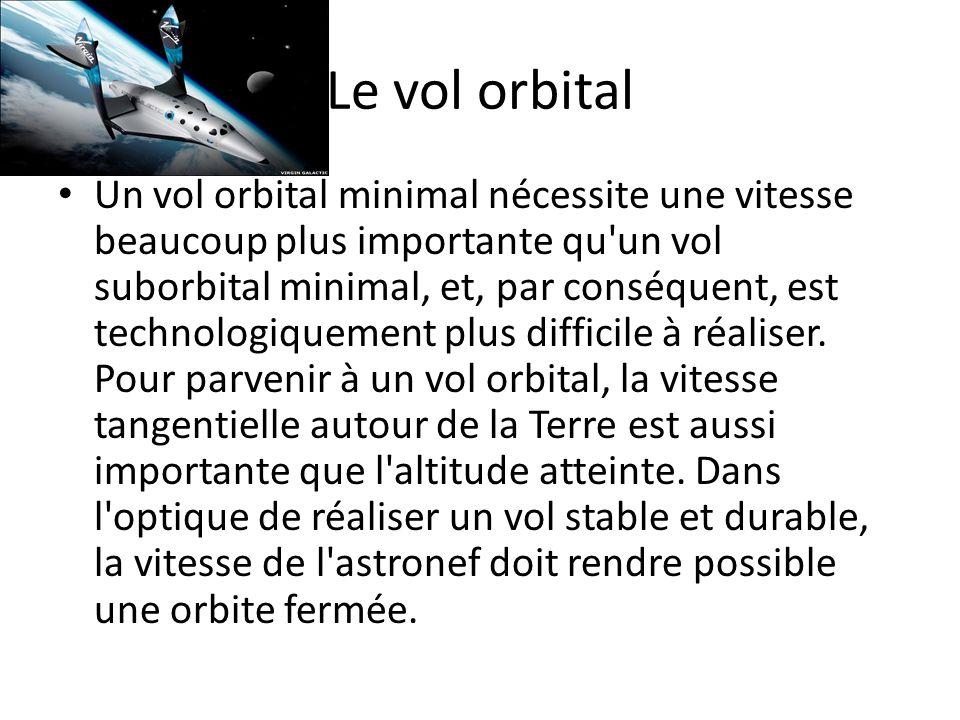 Le vol orbital Un vol orbital minimal nécessite une vitesse beaucoup plus importante qu'un vol suborbital minimal, et, par conséquent, est technologiq