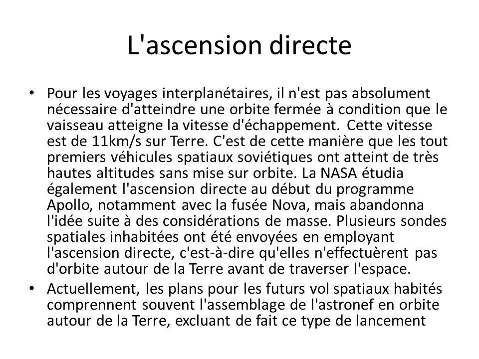 L'ascension directe Pour les voyages interplanétaires, il n'est pas absolument nécessaire d'atteindre une orbite fermée à condition que le vaisseau at