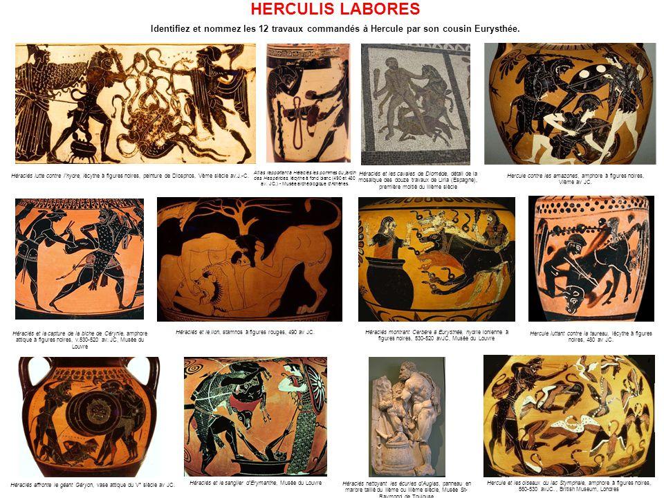 10- Ramener le troupeau de Géryon Héraclès affronte le géant Géryon, vase attique du V° siècle avant Jésus Christ.